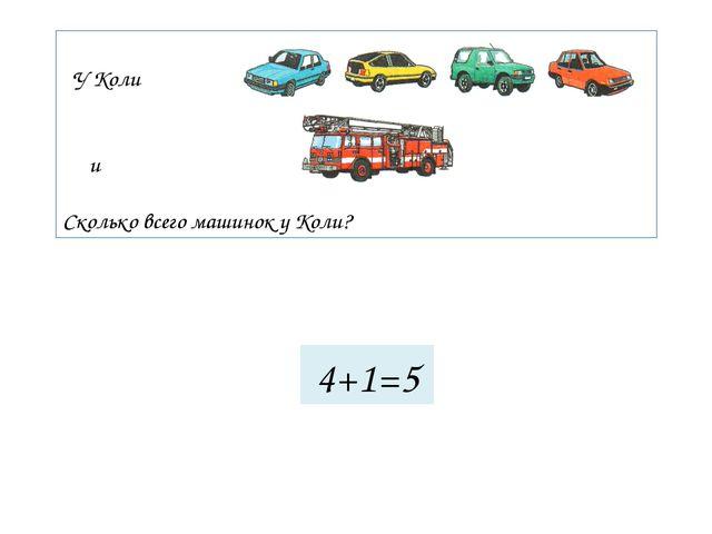 У Коли и Сколько всего машинок у Коли? 4+1=5