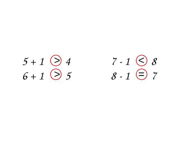 5 + 1 4 6 + 1 5 7 - 1 8 8 - 1 7 < > = >