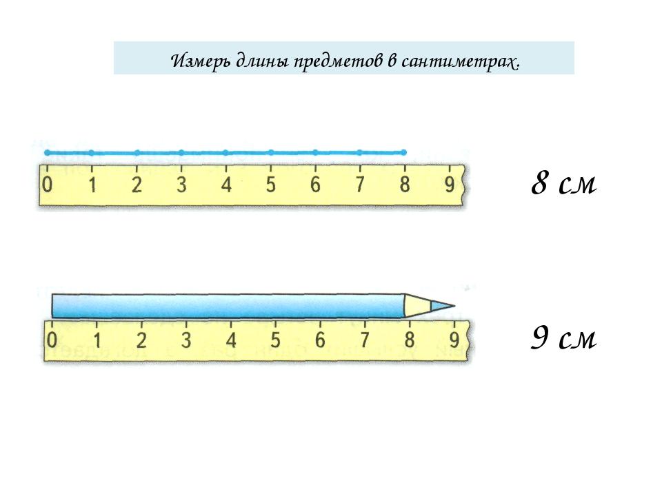 Измерь длины предметов в сантиметрах. 8 см 9 см