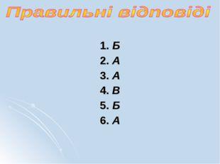 1. Б 2. А 3. А 4. В 5. Б 6. А