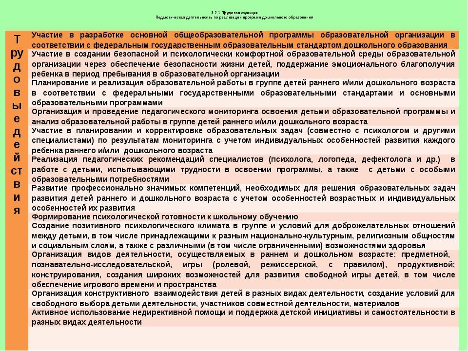3.2.1. Трудовая функция Педагогическая деятельность по реализации программ д...