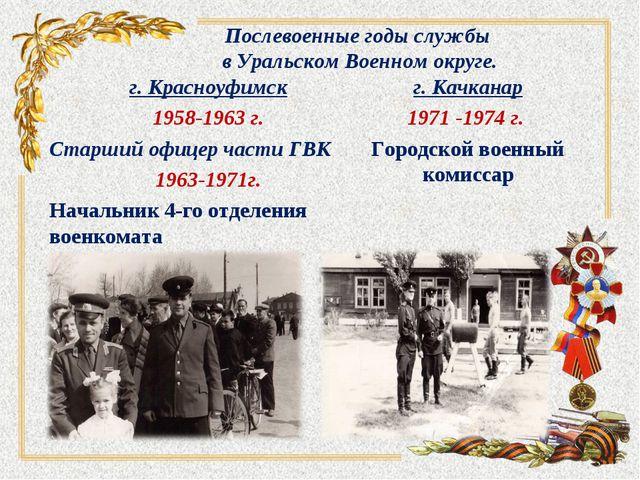 Послевоенные годы службы в Уральском Военном округе. г. Красноуфимск 1958-196...