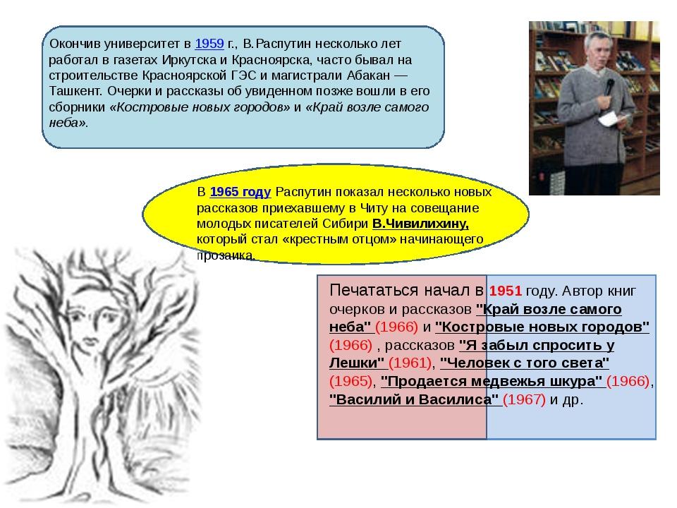 Окончив университет в 1959г., В.Распутин несколько лет работал в газетах Ир...