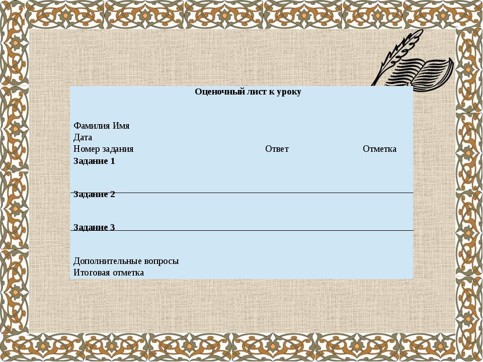 Оценочный лист к уроку Фамилия Имя  Дата  Номер задания Ответ Отметка Задан...