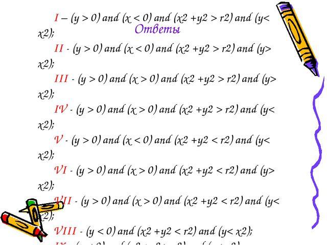 I – (y > 0) and (x < 0) and (x2 +y2 > r2) and (y< x2); II - (y > 0) and (x <...