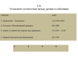 А-6. Установите соответствие между датами и событиями события даты 1. Правлен