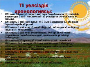 1991 жыл 16 желтоқсанда Қазақстан Республикасы тәуелсіздігін жариялады. Қазақ