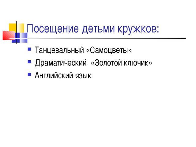 Посещение детьми кружков: Танцевальный «Самоцветы» Драматический «Золотой клю...
