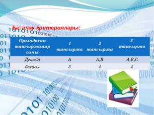 Бағалау критериялары: Орындаған тапсырмаларсаны 1 тапсырма 2тапсырма 3 тапсыр