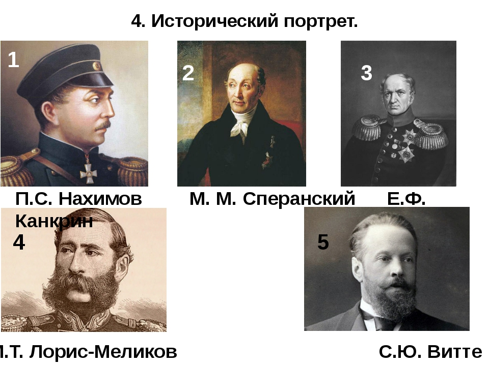 4. Исторический портрет. П.С. Нахимов М. М. Сперанский Е.Ф. Канкрин М.Т. Лори...