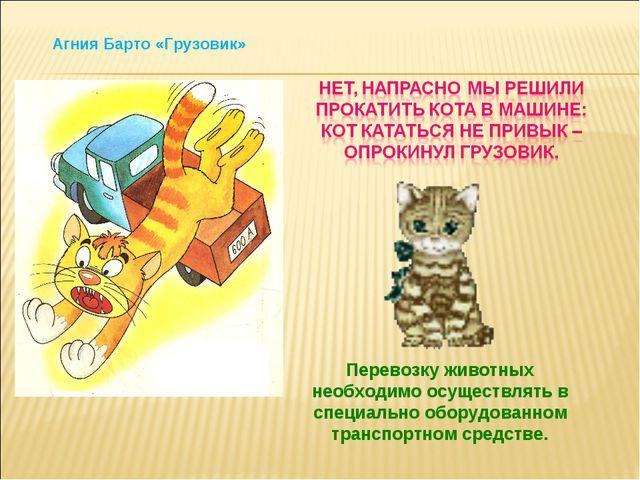 Перевозку животных необходимо осуществлять в специально оборудованном транспо...