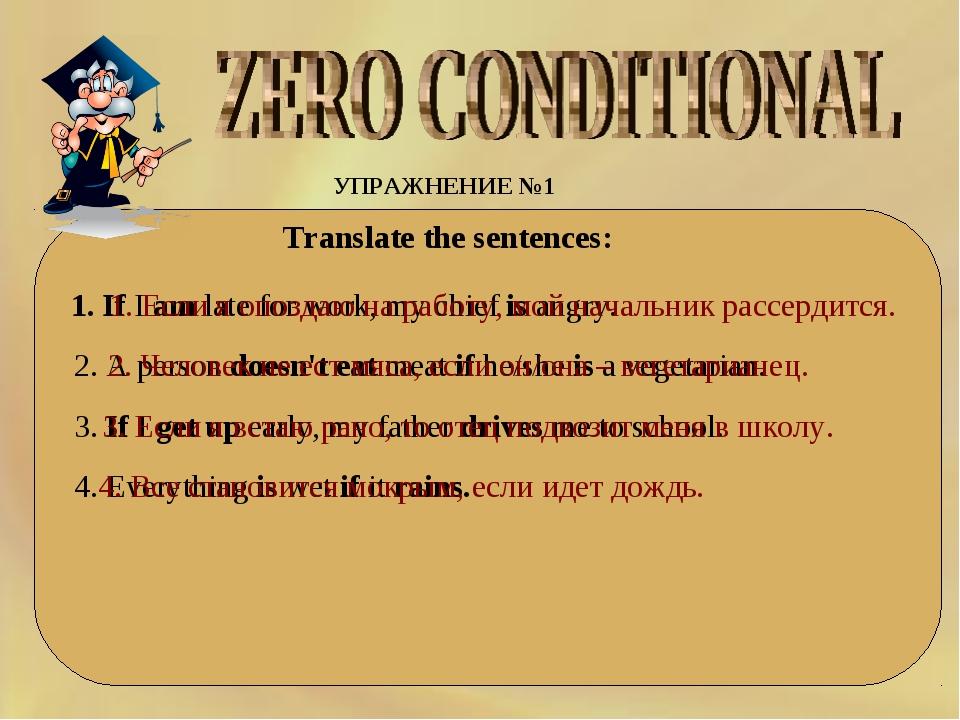 УПРАЖНЕНИЕ №1 Translate the sentences: 1. IfIamlateforwork,mychiefis...
