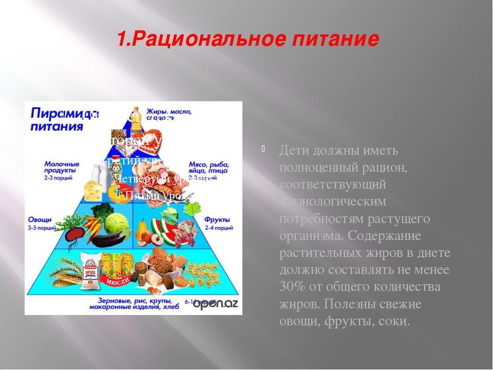 1.Рациональное питание Дети должны иметь полноценный рацион, соответствующий...