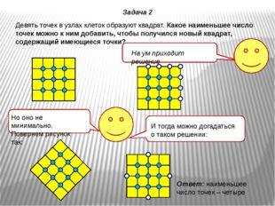 Девять точек в узлах клеток образуют квадрат. Какое наименьшее число точек мо