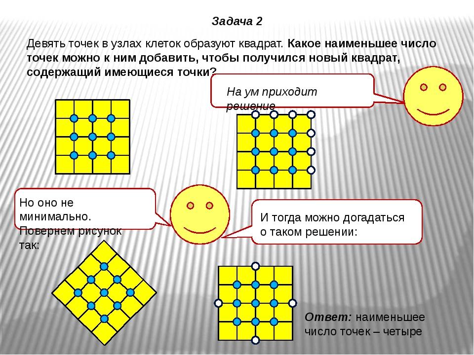 Девять точек в узлах клеток образуют квадрат. Какое наименьшее число точек мо...