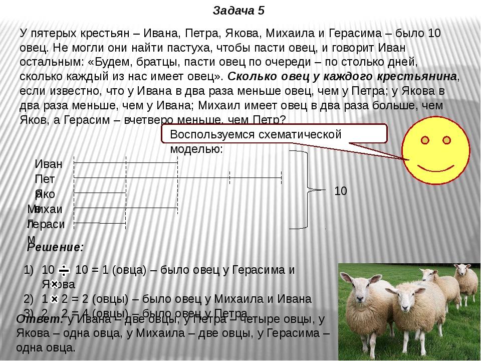 У пятерых крестьян – Ивана, Петра, Якова, Михаила и Герасима – было 10 овец....