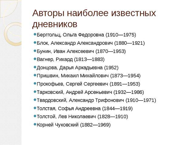 Авторы наиболее известных дневников Берггольц, Ольга Федоровна(1910—1975) Бл...