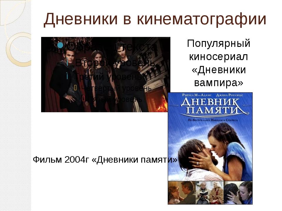 Дневники в кинематографии Популярный киносериал «Дневники вампира» Фильм 2004...
