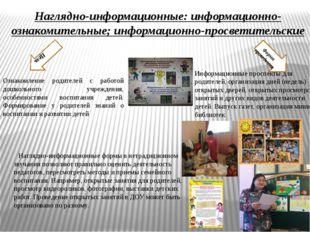 Наглядно-информационные: информационно-ознакомительные; информационно-просвет