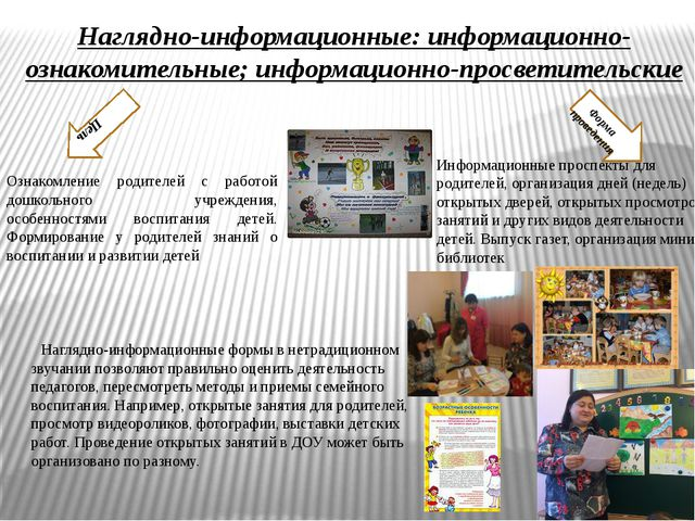 Наглядно-информационные: информационно-ознакомительные; информационно-просвет...