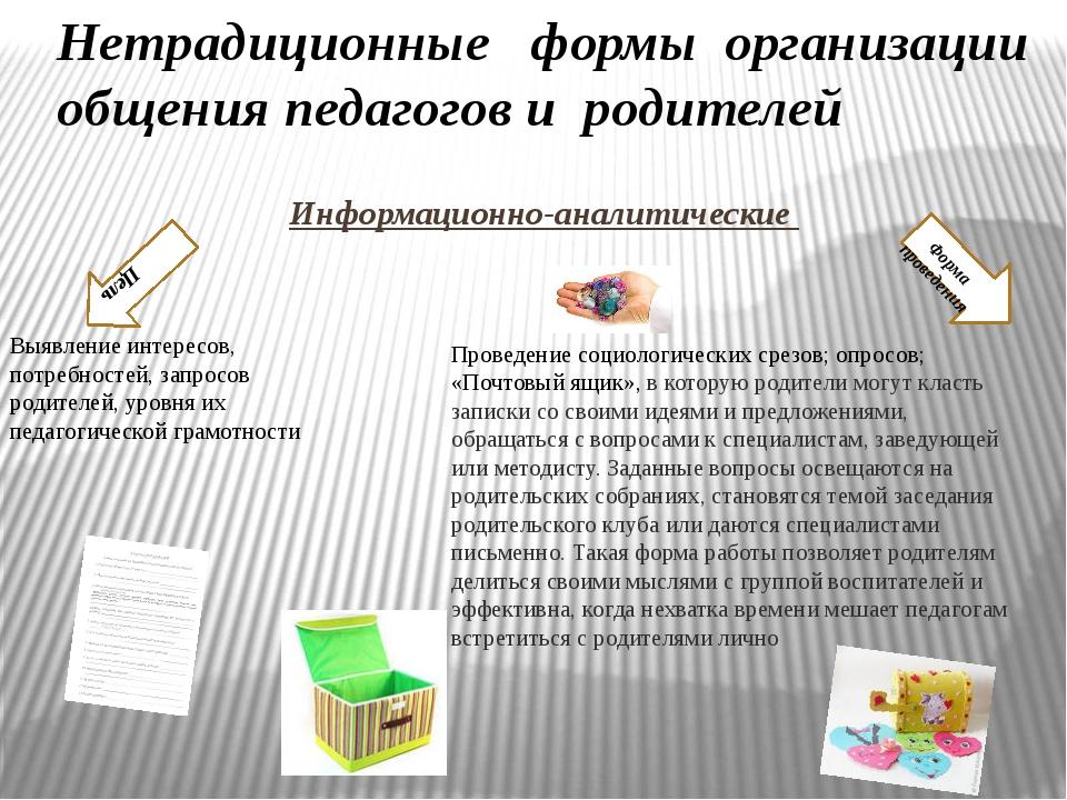 Информационно-аналитические Цель Форма проведения Нетрадиционныеформыор...