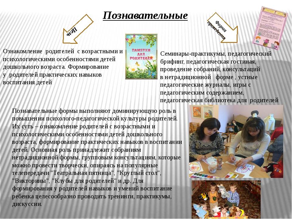 Познавательные Цель Форма проведения Ознакомлениеродителейс возрастными и...