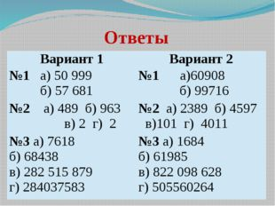 Ответы Вариант 1 Вариант 2 №1а) 50 999 б) 57 681 №1а)60908 б) 99716 №2а)489 б