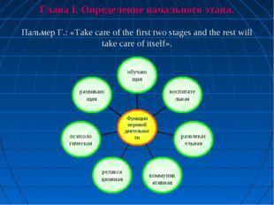 Глава I. Определение начального этапа. Пальмер Г.: «Take care of the first tw