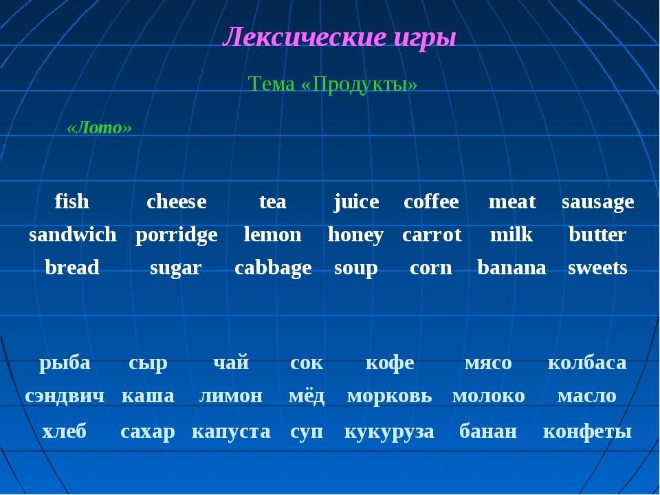 Лексические игры Тема «Продукты» «Лото» fishcheeseteajuicecoffeemeatsau...