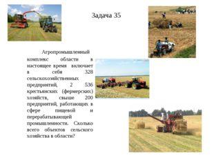 Задача 35 Агропромышленный комплекс области в настоящее время включает в себя