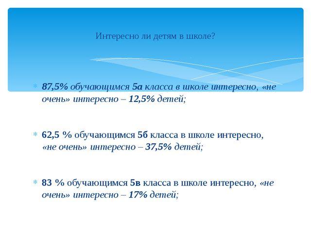 87,5% обучающимся 5а класса в школе интересно, «не очень» интересно – 12,5%...