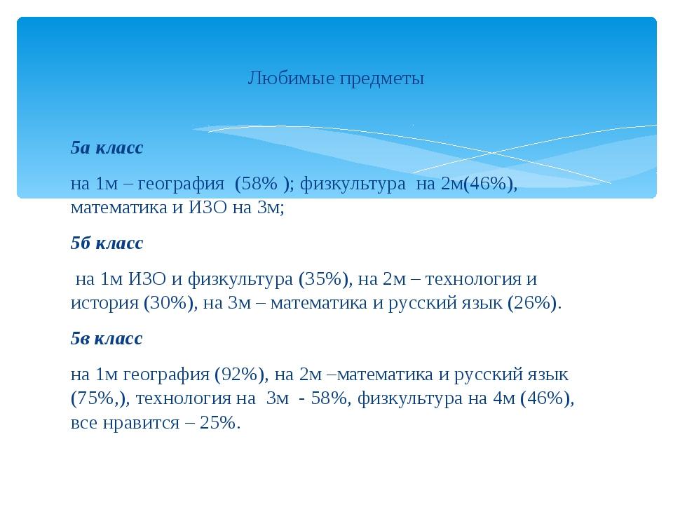 5а класс на 1м – география (58% ); физкультура на 2м(46%), математика и ИЗО н...