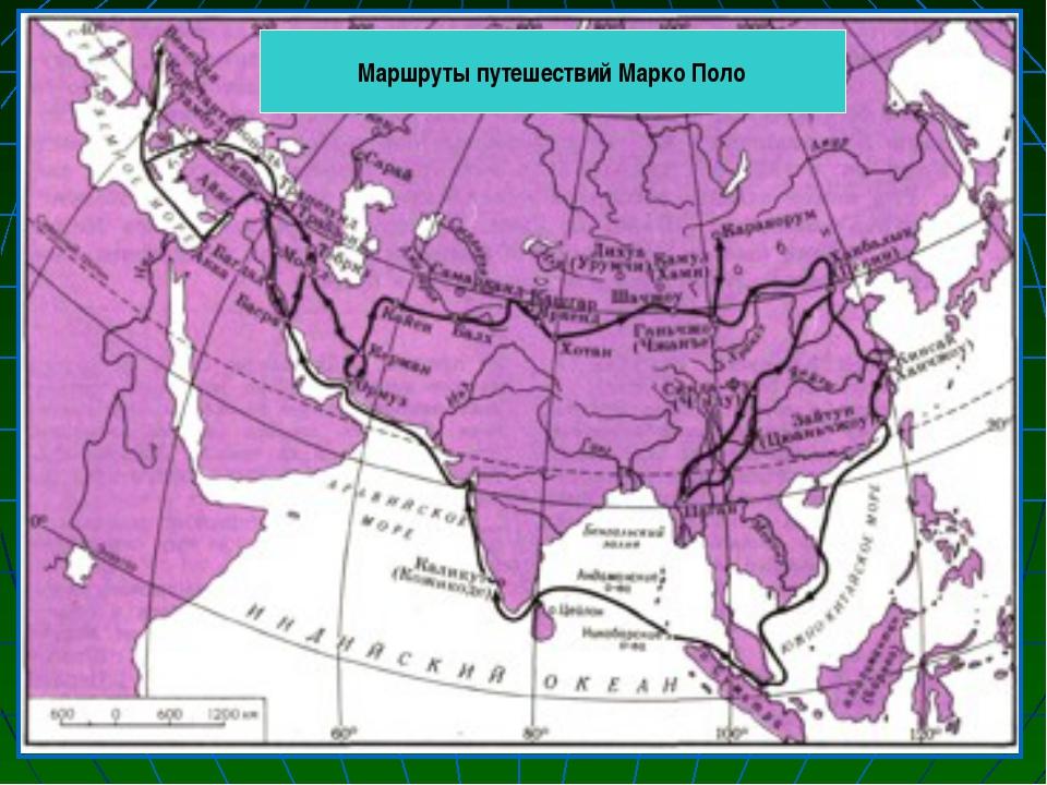Маршруты путешествий Марко Поло
