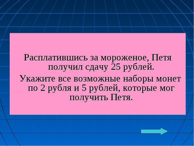 Расплатившись за мороженое, Петя получил сдачу 25 рублей. Укажите все возмож...