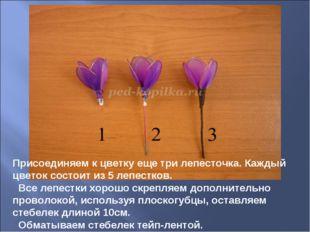 Присоединяем к цветку еще три лепесточка. Каждый цветок состоит из 5 лепестко