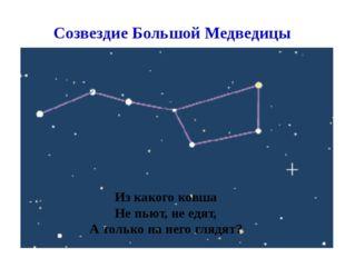 Созвездие Большой Медведицы Из какого ковша Не пьют, не едят, А только на нег