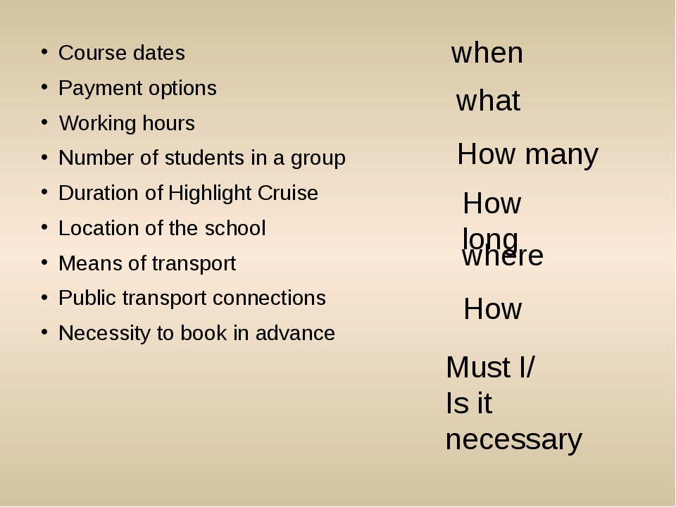 Course dates Payment options Working hours Number of students in a group Dura...