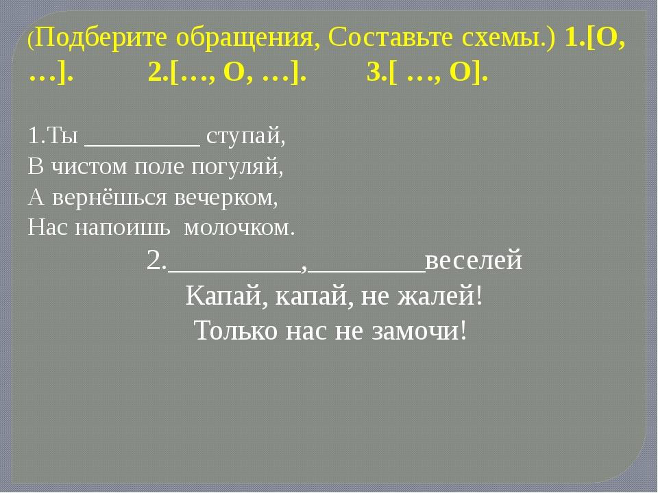 (Подберите обращения, Составьте схемы.) 1.[О,…].   2.[…, O, …]....