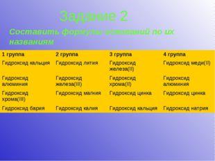 Задание 2 Составить формулы оснований по их названиям 1 группа2 группа3 гру