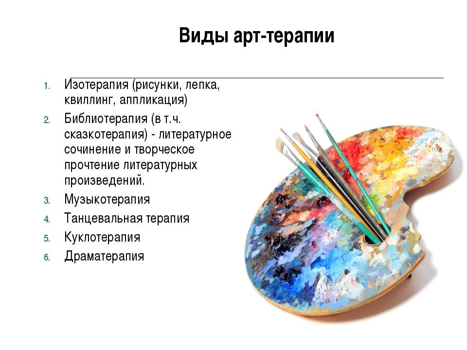 Виды арт-терапии Изотерапия (рисунки, лепка, квиллинг, аппликация) Библиотера...