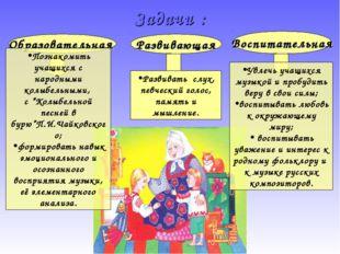 Образовательная Развивающая Воспитательная Познакомить учащихся с народными к
