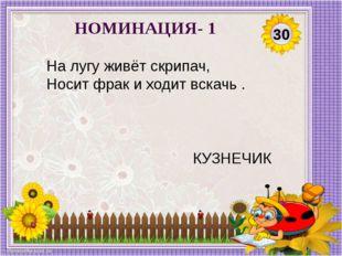 30 НОМИНАЦИЯ- 1 На лугу живёт скрипач, Носит фрак и ходит вскачь . КУЗНЕЧИК
