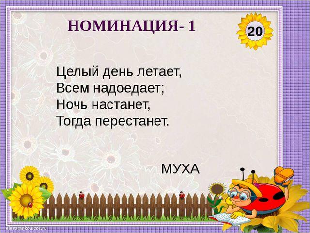 20 НОМИНАЦИЯ- 1 Целый день летает, Всем надоедает; Ночь настанет, Тогда перес...