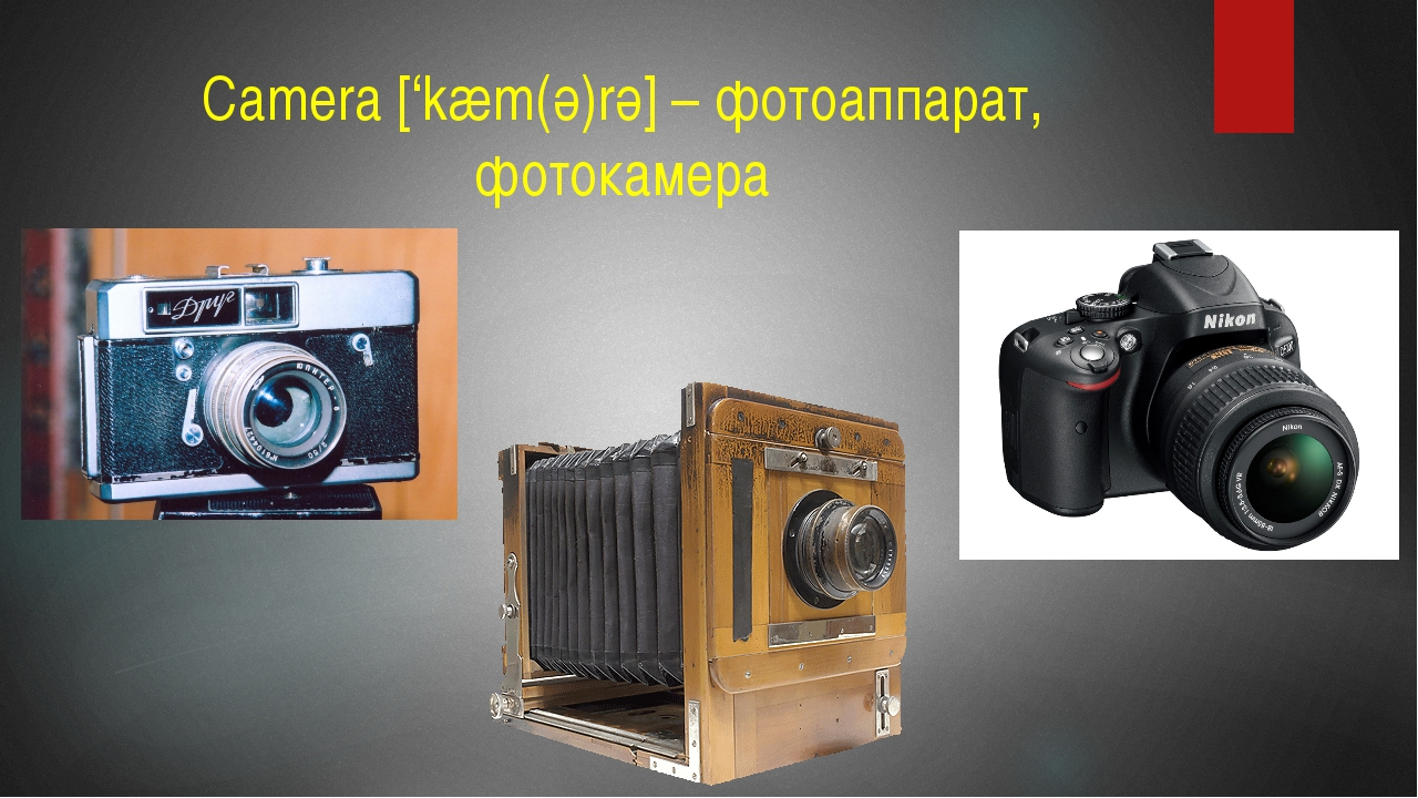 Camera ['kæm(ә)rә] – фотоаппарат, фотокамера