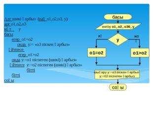 Алг шикі қарбыз (нақ о1,о2,о3, у) арг о1,о2,о3 нәт у басы егер о1=о2 онда у:=