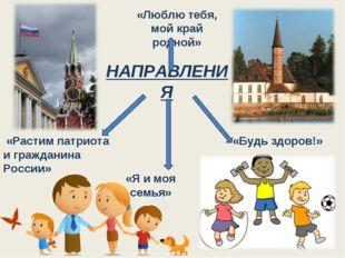 НАПРАВЛЕНИЯ «Будь здоров!» «Я и моя семья» «Растим патриота и гражданина Росс