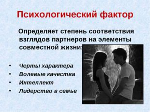 Психологический фактор Определяет степень соответствия взглядов партнеров на