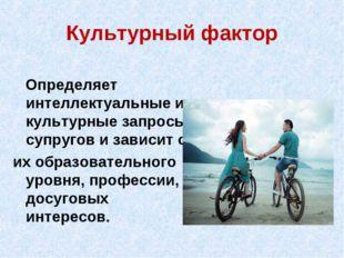 Культурный фактор Определяет интеллектуальные и культурные запросы супругов и