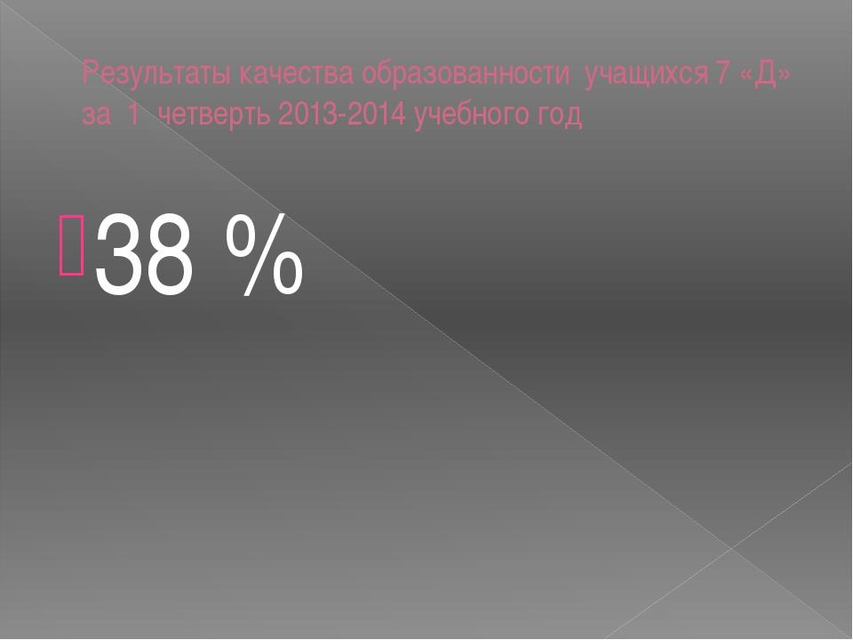 Результаты качества образованности учащихся 7 «Д» за 1 четверть 2013-2014 уче...