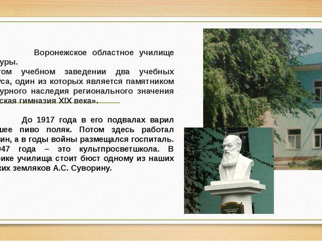 Воронежское областное училище культуры. В этом учебном заведении два учебных...
